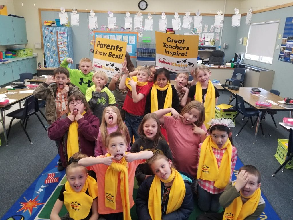 Coyote Springs Elementary School students make silly faces